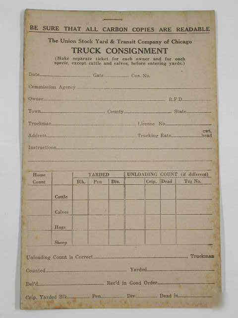 Ca 1940 Chicago Union Stockyards Truck Consignment Form
